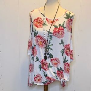 3xl floral cold shoulder blouse